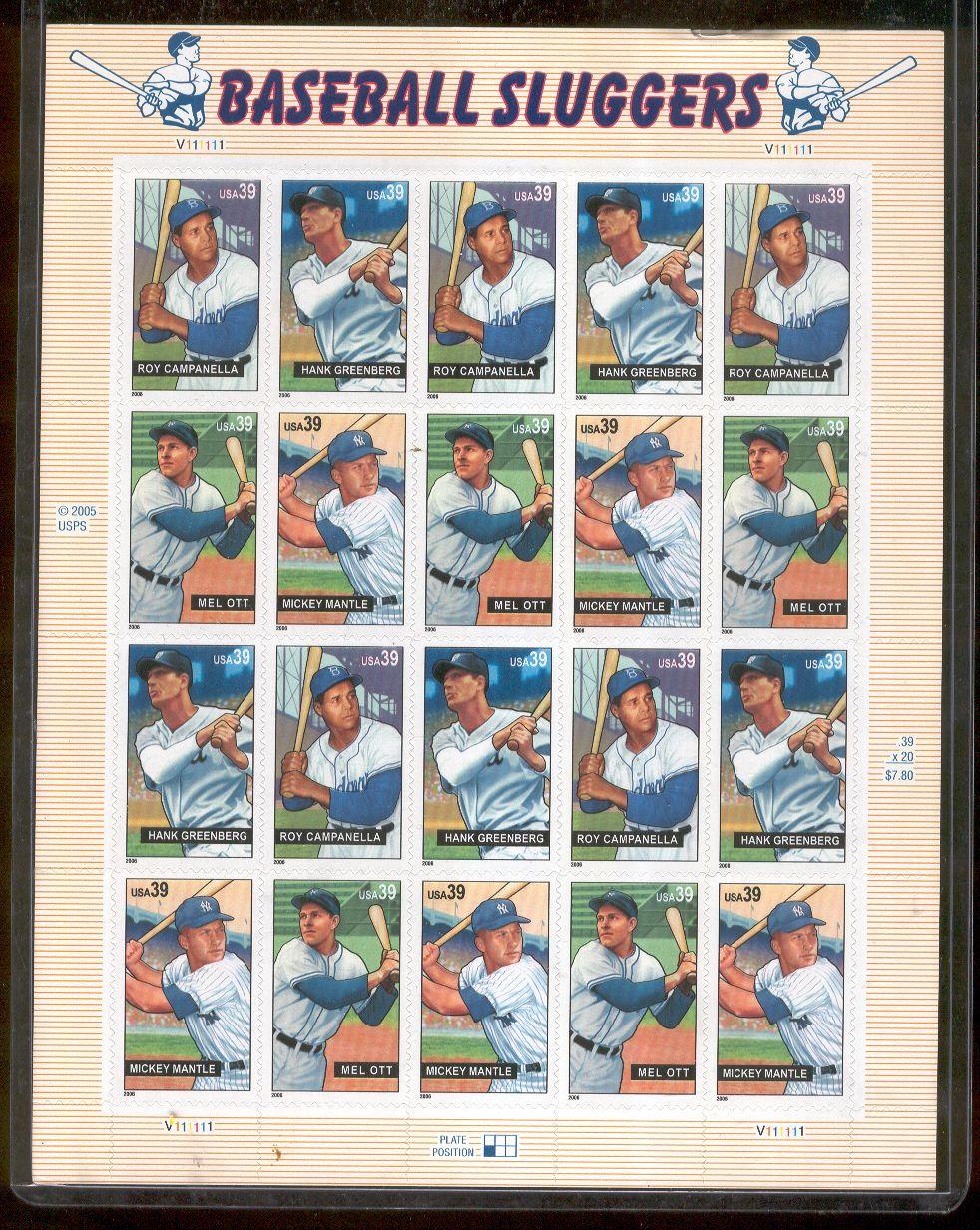 2005 USPS 39 Cent Baseball Sluggers Stamp Panel Of 20 Stamps