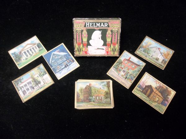1914 T69 Helmar Historic Homes- 29 Asst. Cards + Original Cigarette Box