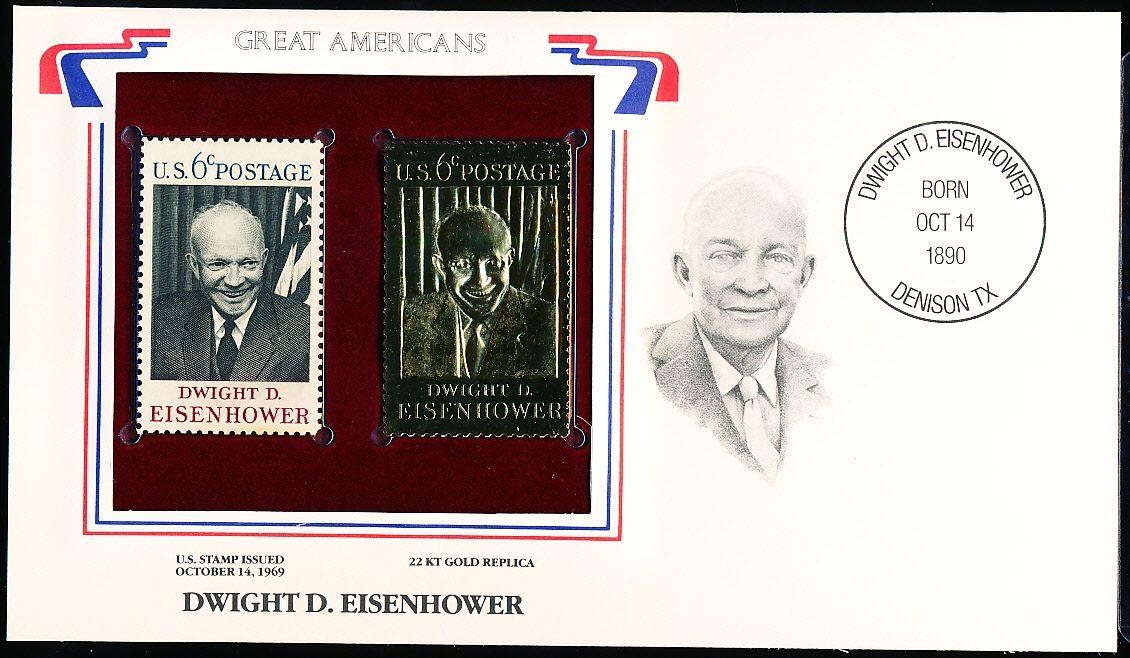Great Americans Original 22kt Gold Replica Stamp Dwight D Eisenhower 6