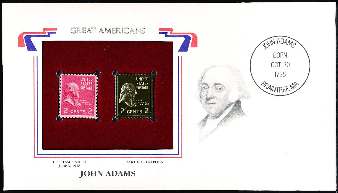 Great Americans Original 22kt Gold Replica Stamp John Adams 2 Cent 6