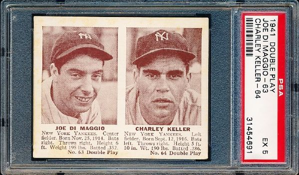 1941 Double Play Bb- #63 Joe DiMaggio/#64 Charley Keller- PSA Ex 5