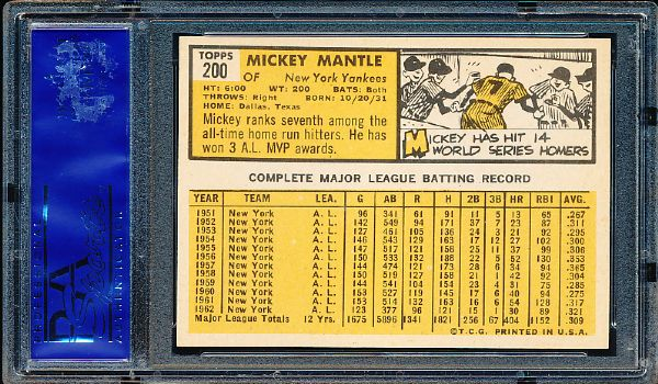 1963 Topps Baseball- #200 Mickey Mantle, Yankees- PSA Nm-Mt 8