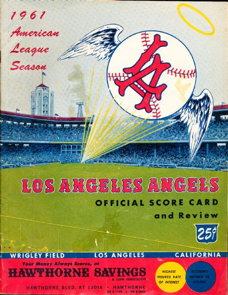 1961 Los Angeles Angels Scorecard vs. New York Yankees