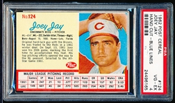 1962 Post Cereal Bb- #124 Joey Jay- Red Line Version- PSA Vg-Ex 4