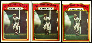 1972 Topps Bb- #226 Clemente WS- 3 Cards