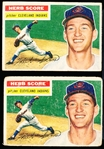 1956 Topps Bb- #140 Herb Score RC- 2 Cards