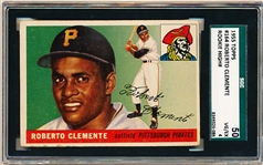 1955 Topps Baseball- #164 Roberto Clemente, Pirates- Rookie! – SGC 50 (Vg-Ex 4)