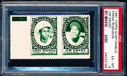 1961 Topps Baseball Stamp Panel with Tab- Frank Robinson (Reds)/ Jim Grant (Indians)- PSA Ex-Mt 6