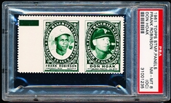1961 Topps Baseball Stamp Panel with Tab- Frank Robinson (Reds)/ Don Hoak (Pirates)- PSA NrMt-Mt 8 (OC)