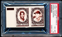 1961 Topps Baseball Stamp Panel with Tab- Tony Taylor (Phillies)/ Frank Howard (Dodgers) - PSA Ex-Mt 6