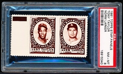 1961 Topps Baseball Stamp Panel with Tab- Tony Taylor (Phillies)/ Norm Larker(Dodgers)- PSA NrMt-Mt 8