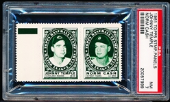 1961 Topps Baseball Stamp Panel with Tab-Johnny Temple (Indians)/ Norm Cash (Tigers)- PSA NM 7