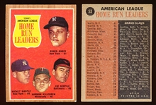 1962 Topps Bb- #53 AL Home Run Leaders- Maris 61! – 2 Cards
