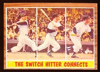 "1962 Topps Bb- #318 Mickey Mantle IA- ""The Switch Hitter Connects"""