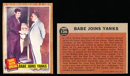 1962 Topps Bb-#136 Babe Joins Yanks- 4 Cards