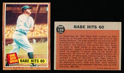 1962 Topps Bb-#139 Babe Hits 60- 2 Cards