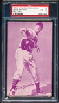 1953 Canadian Baseball Exhibit- #3 Gene Bearden, Cleveland- Red Tint- PSA Vg-Ex 4
