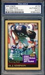 "1995 Enor ""Pro Football Hall of Fame"" Football Card- #175 O.J. Simpson- PSA/DNA Certified Authentic Autograph"