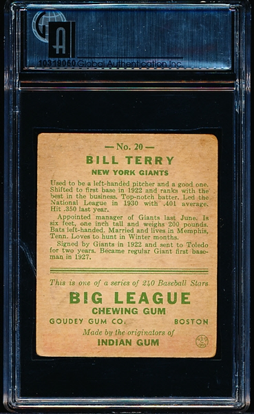 1933 Goudey Baseball- #20 Bill Terry, Giants- GAI Vg+ 3.5