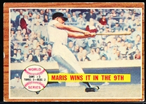 1962 Topps Bb- #234 Maris Wins It in the 9th