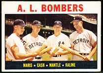 1964 Topps Bb- #331 A.L. Bombers- Maris/ Mantle/ Kaline/ Cash