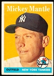 1958 Topps Baseball- #150 Mickey Mantle, Yankees