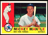 1960 Topps Baseball- #350 Mickey Mantle, Yankees- Withdrawn