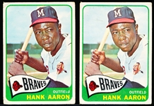 1965 Topps Bb- #170 Hank Aaron, Braves- 2 Cards