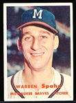 1957 Topps Baseball- #90 Warren Spahn, Braves