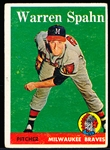 1958 Topps Baseball- #270 Warren Spahn, Braves