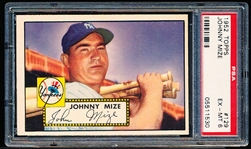 1952 Topps Bb- #129 Johnny Mize, Yankees- PSA Ex-Mt 6