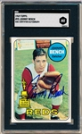 1969 Topps Baseball- #95 Johnny Bench, Reds- Nice Thin Blue Sharpie Signature on Front- SGC Certified Autograph