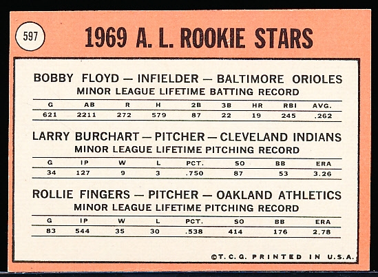 1969 Topps Bb- #597 Rollie Fingers RC