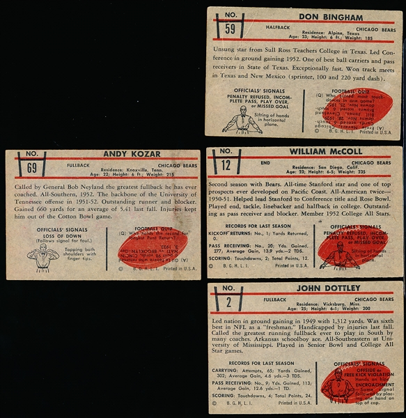 1953 Bowman Football- 4 Diff Chicago Bears