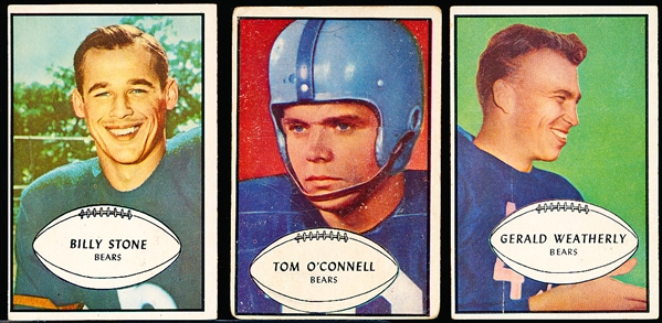 1953 Bowman Football- 3 Diff Chicago Bears
