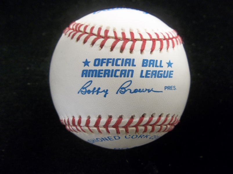 Autographed Official AL Bobby Brown Bsbl. by 6 with 4 Diff. Cleveland Indians