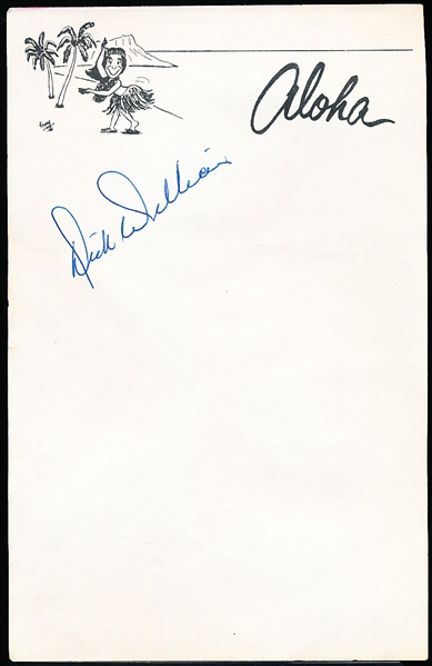"Autographed Dick Williams Bsbl. 5-¼"" x 8-¼"" ""Aloha"" Note Page"