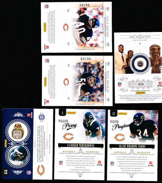 2011 Panini National Treasures Ftbl.- 6 Diff. Bears Legends- all #/99!