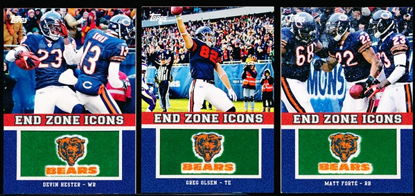 "2011 Topps Ftbl. ""End Zone Icons""- 3 Diff. Chicago Bears"