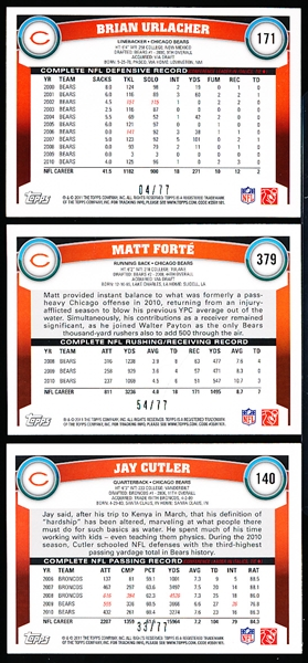 "2011 Topps Ftbl. ""Red""- 9 Diff. Chicago Bears- all #/77,"