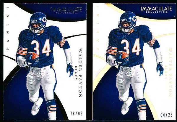 2015 Panini Immaculate Collection Ftbl. #34 Walter Payton, Bears- 2 Diff. Cards