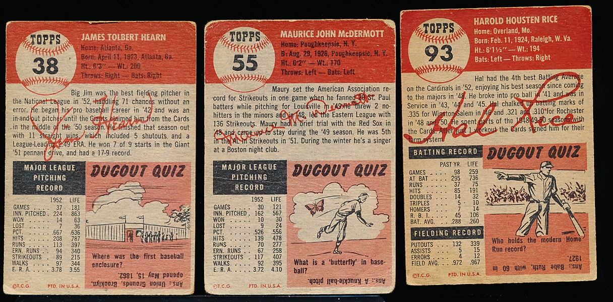 1953 Topps Baseball- 3 Diff- Vg crs- decent cent