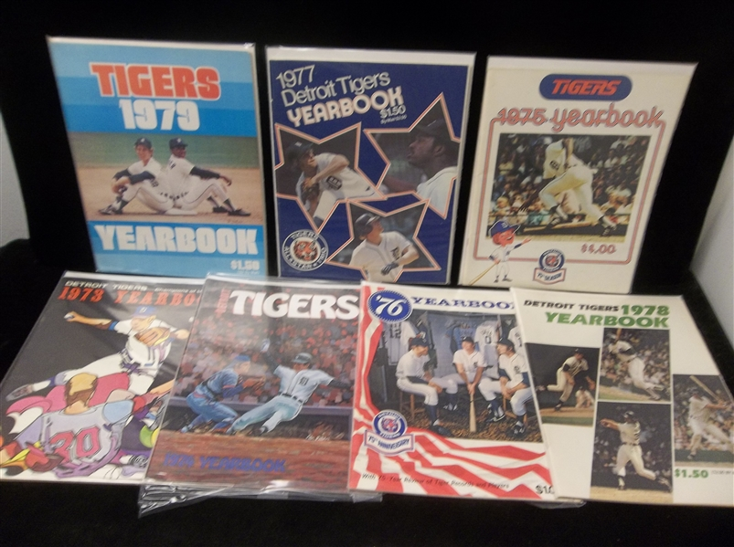 1973-79 Detroit Tigers MLB Yearbooks- 7 Diff., 1 from Each Year