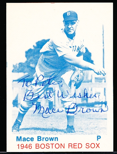 Autographed 1975 TCMA 1946 Boston Red Sox Bsbl.- Mace Brown