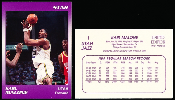 "1990-91 Star Company Limited Ed. ""Arena Set"" Utah Jazz #1 Karl Malone- 15 Cards"