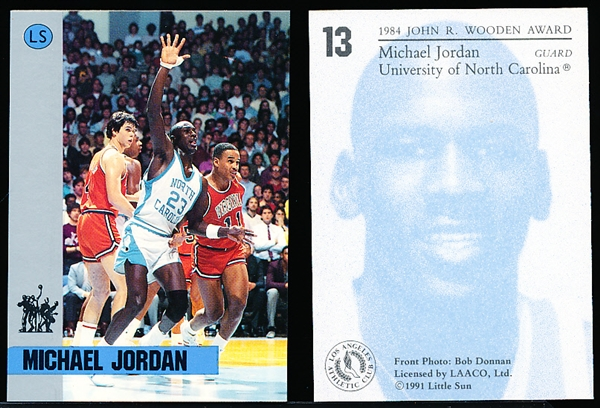 "1991 Little Sun ""Wooden Award Winners"" College Bskbl. #13 Michael Jordan- 3 Cards"