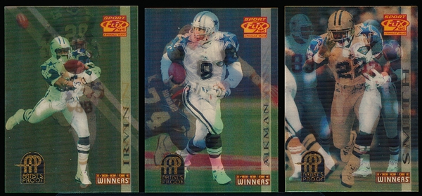 "1995 Sportflix Ftbl.- ""Artist's Proof""- 3 Diff. Dallas Cowboys Stars"