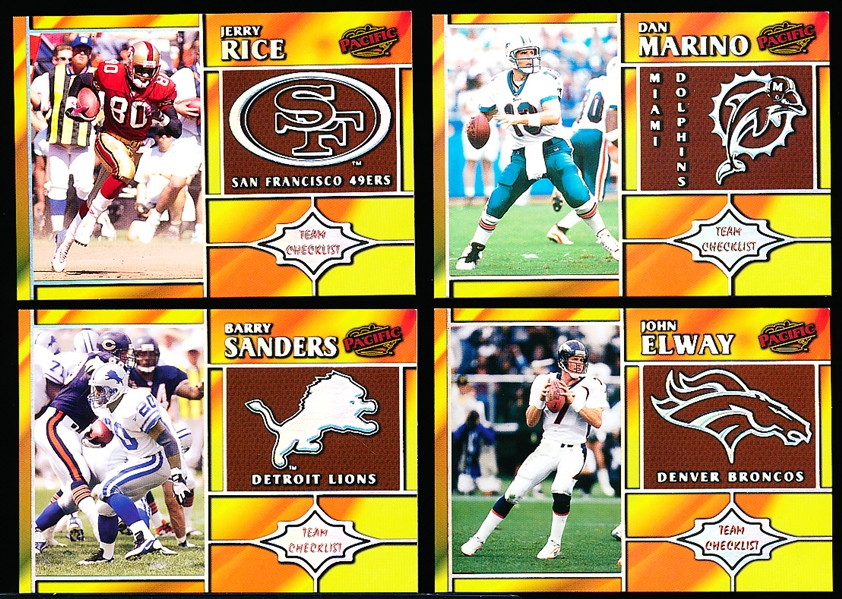 "1998 Pacific Football- ""Team Checklists"" Inserts- 4 Diff. Stars"