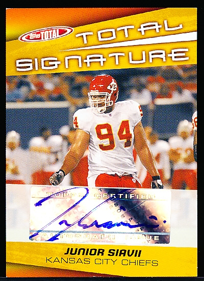 "2005 Topps Total Ftbl.- ""Total Signature""- #TS-JS Junior Siavii, Chiefs"