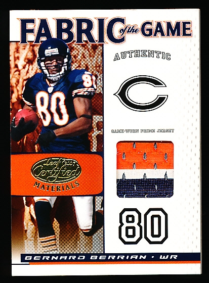 "2007 Leaf Certified Materials Ftbl.- ""Fabric of the Game Prime""- #FOG-8 Bernard Berrian, Bears- #24/25"